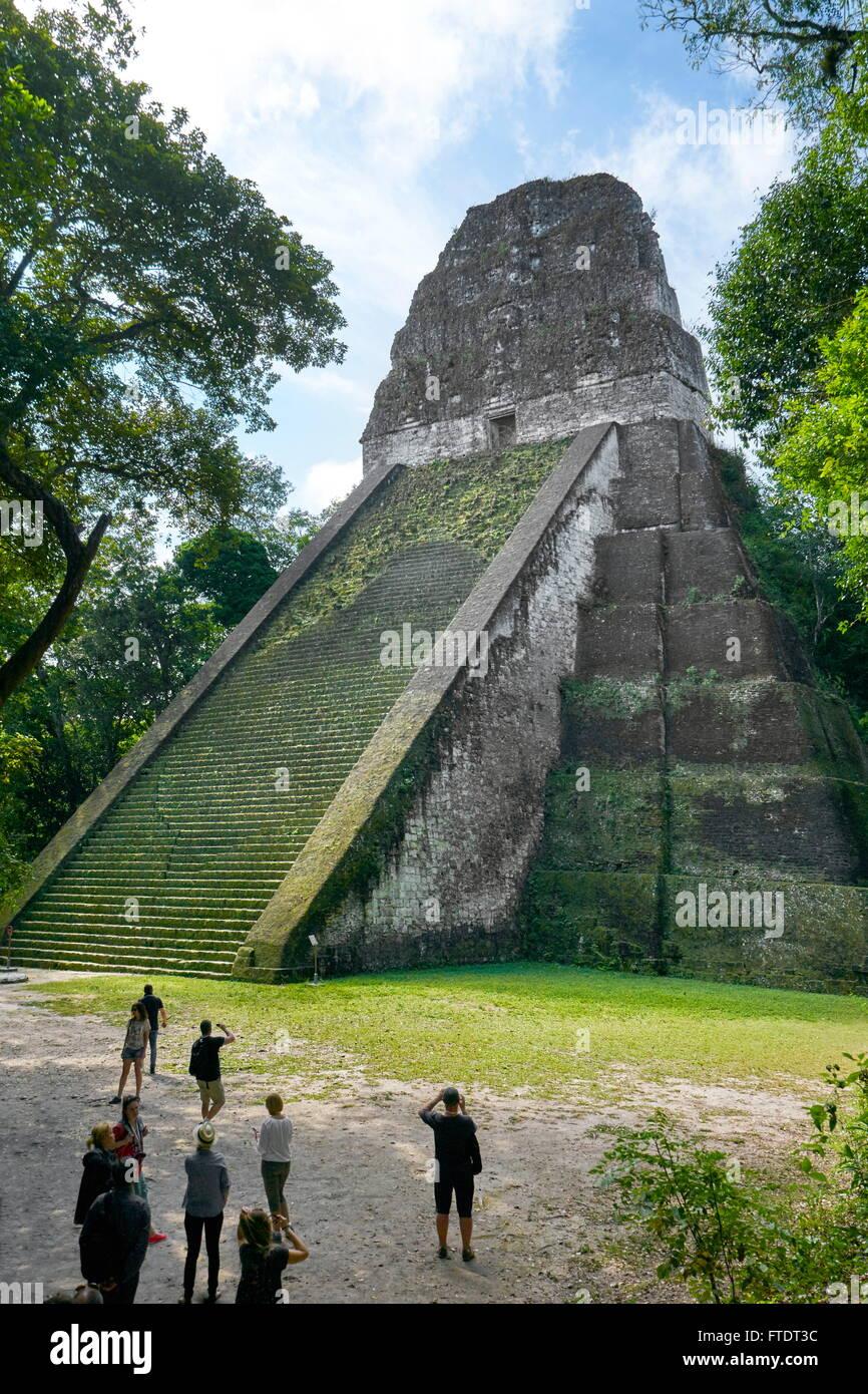 Temple V, Tikal National Park, Maya Ruins, Yucatan, Guatemala UNESCO - Stock Image