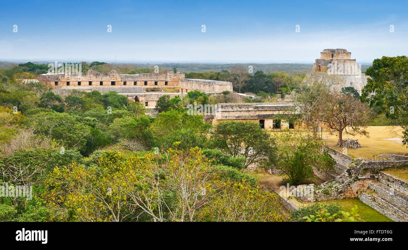 Ancient Maya Ruins, Nunnery Quadrangle, Uxmal Archaeological Site, Yucatan,  Mexico - Stock Image
