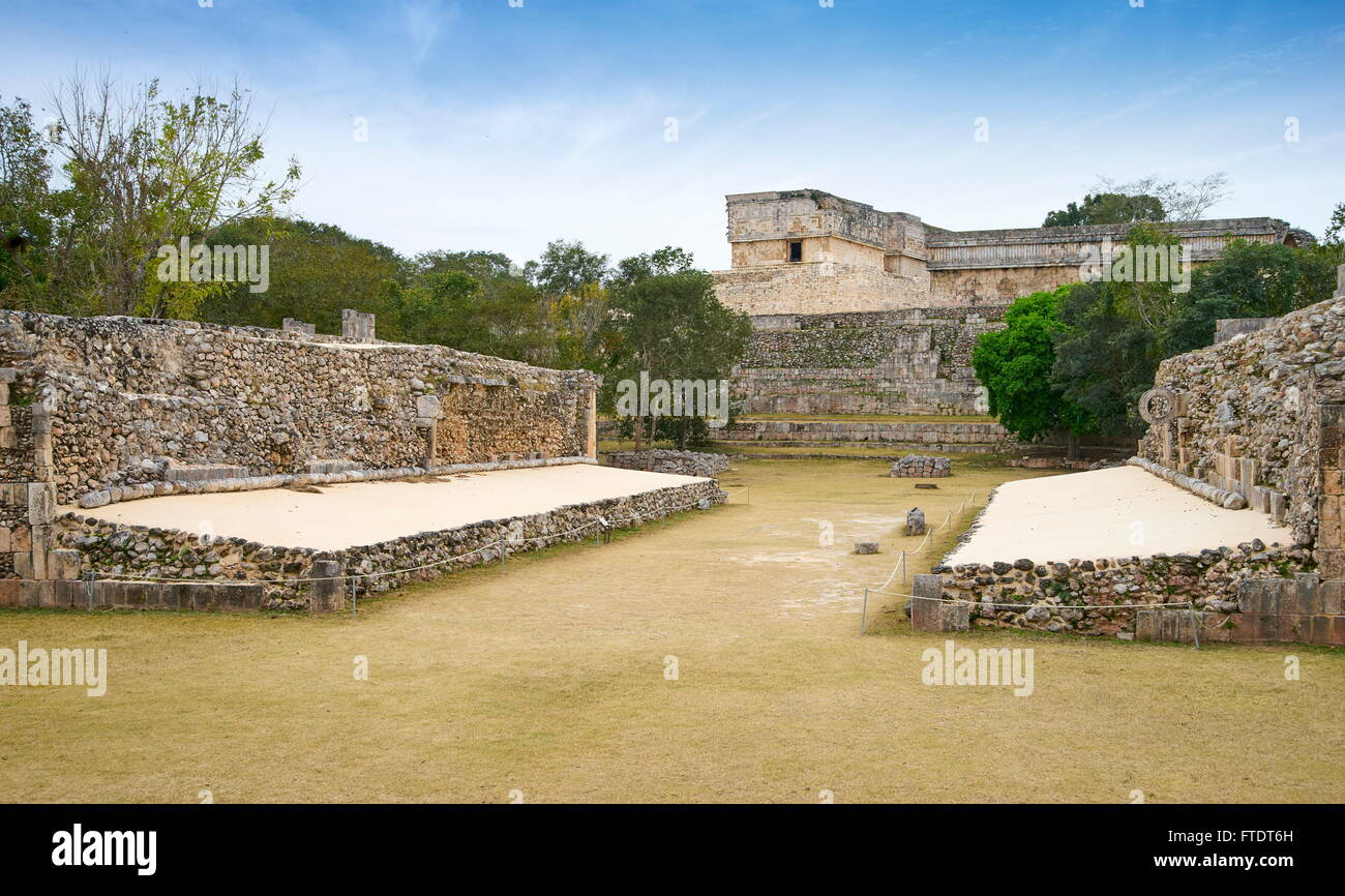 Ball Court, Uxmal Archaeological Site, Uxmal, Yucatan, Mexico - Stock Image