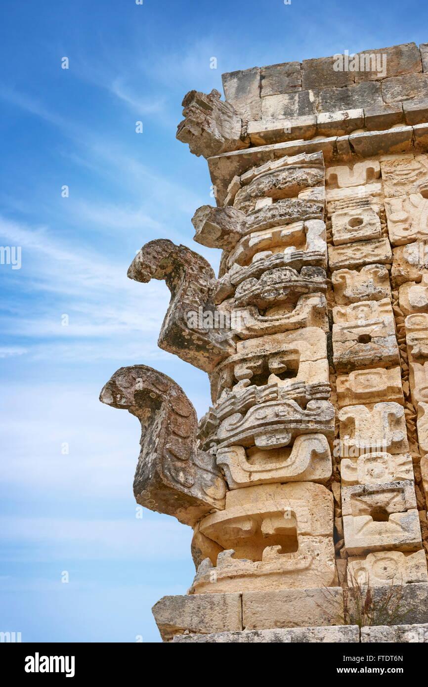 Stone sculpture on the temple, Ancient Maya Ruins, Nunnery Quadrangle, Yucatan, Mexico - Stock Image