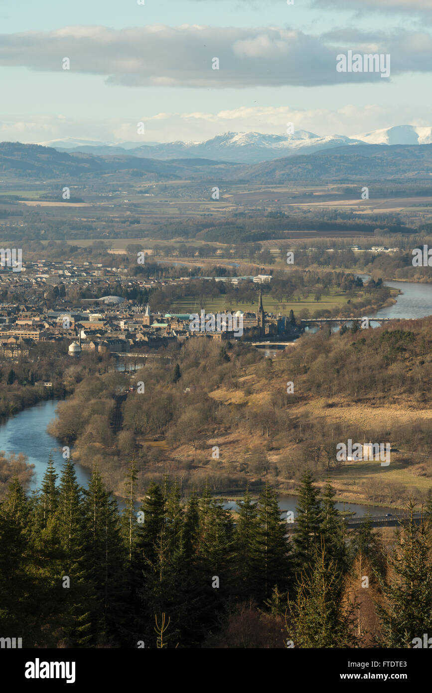 View of Perth and Grampian Mountains from Moncrieffe Hill, Perthshire, Scotland - Stock Image
