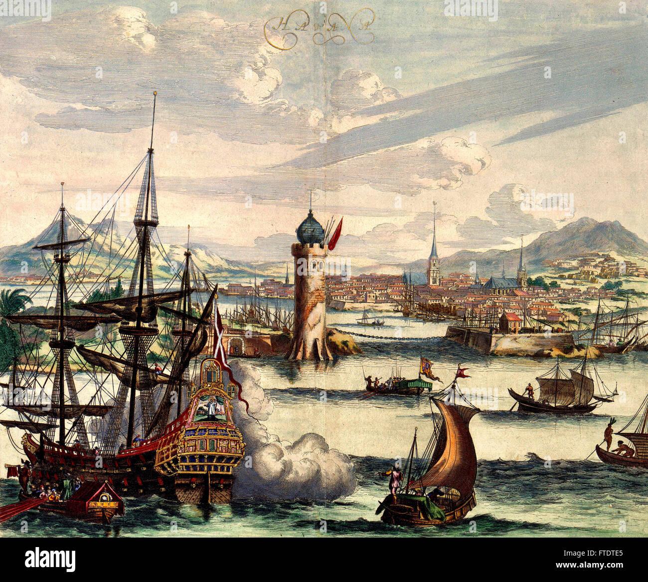 17th century depiction of Havana, Cuba - Stock Image