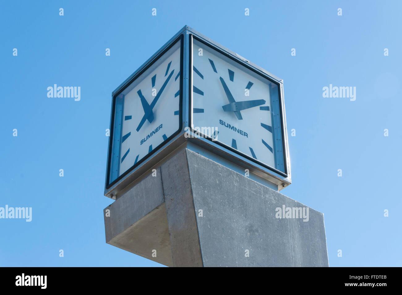 Clock tower at Sumner Surf Life Saving Club, Sumner, Christchurch, Canterbury Region, South Island, New Zealand - Stock Image