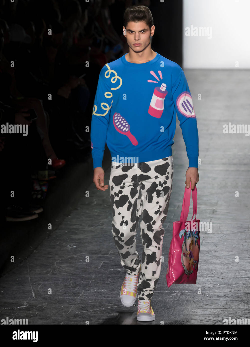 New York City, USA - February 15, 2016: Christopher George walks the runway at Jeremy Scott show during NYFW F/W - Stock Image