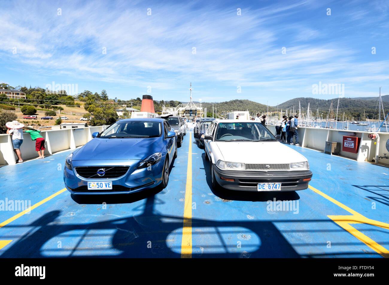 Car Ferry from Kettering to Bruny Island, Tasmania, Australia - Stock Image