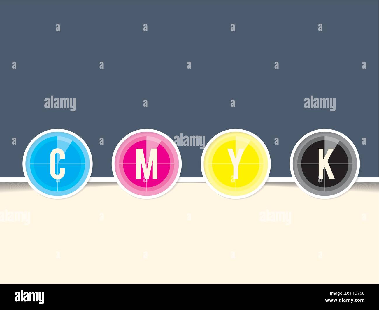 Cmyk background template with countdown design and copy space - Stock Image