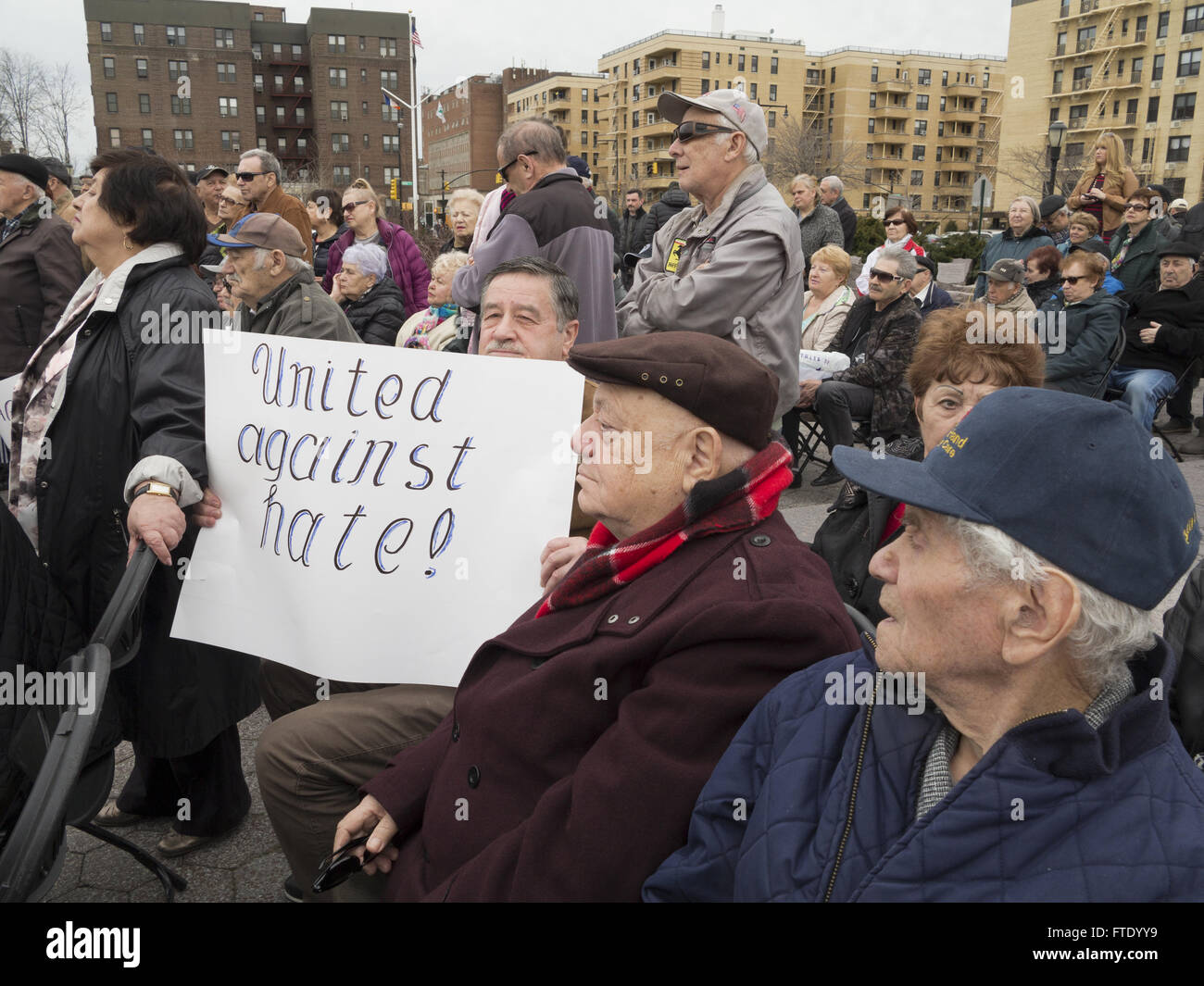 Rally against hatred and anti-semitism at the Holocaust Memorial Park in Sheepshead Bay in Brooklyn, NY, March 13, - Stock Image