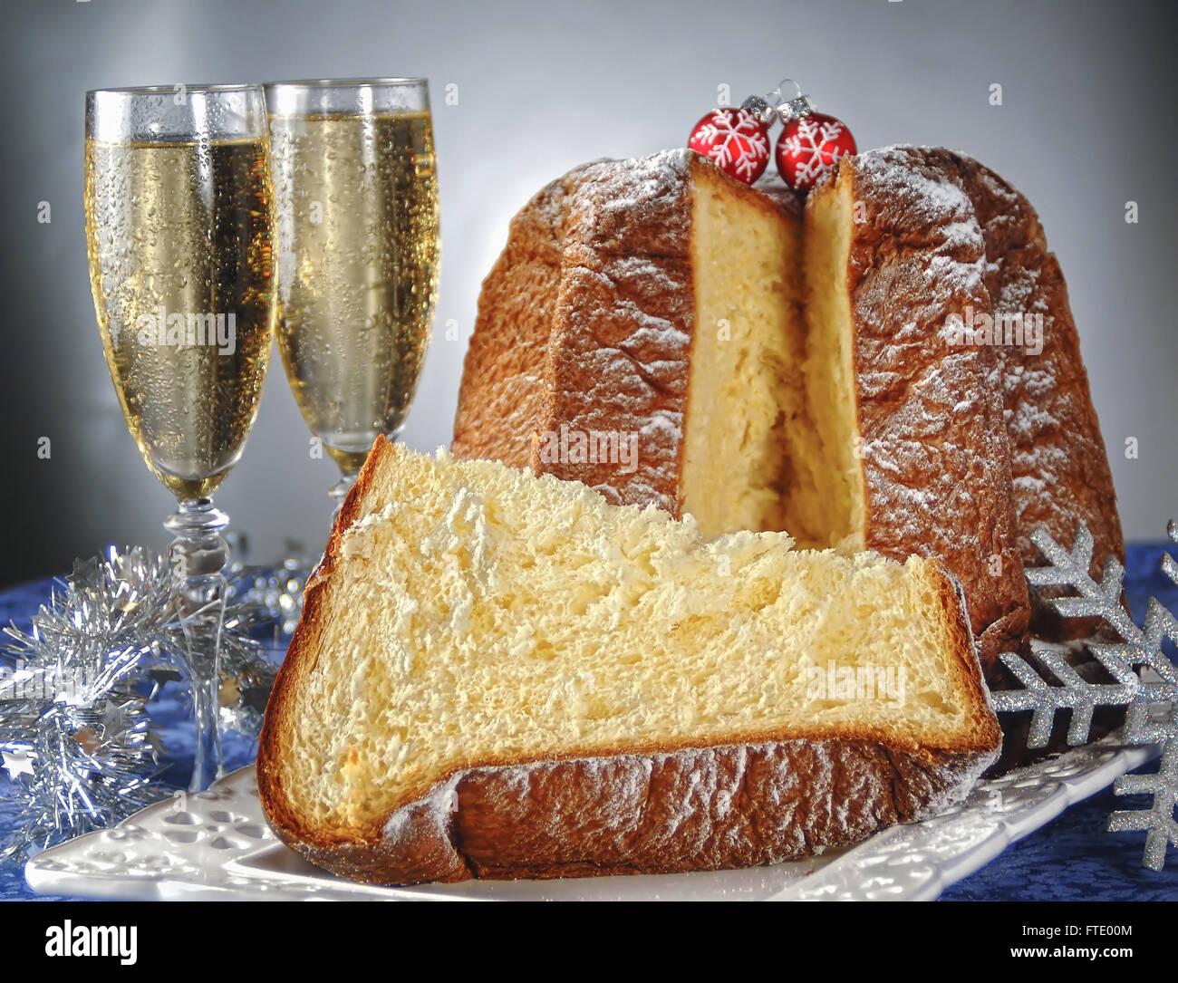 Italian Christmas Cake.Pandoro Traditional Italian Christmas Cake With Champagne