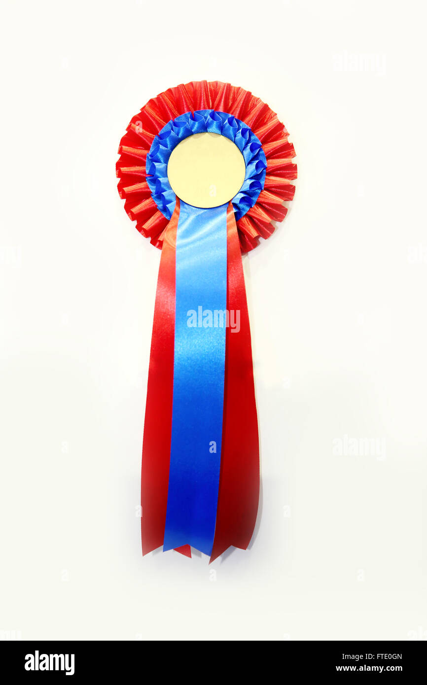 red and blue colored blank award ribbon rosette for winners stock