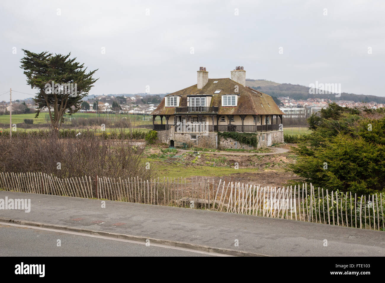 Odstone is a property in Rhos on Sea with legendary links to Prince Madoc who reputedly set sail from here in 1170 - Stock Image