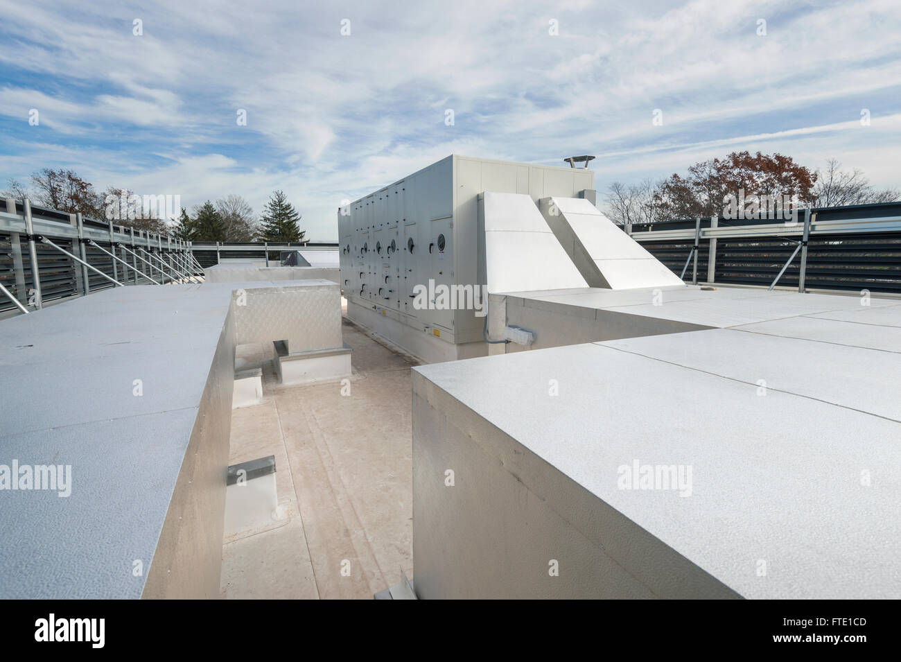 Large New Rooftop Ductwork - Stock Image