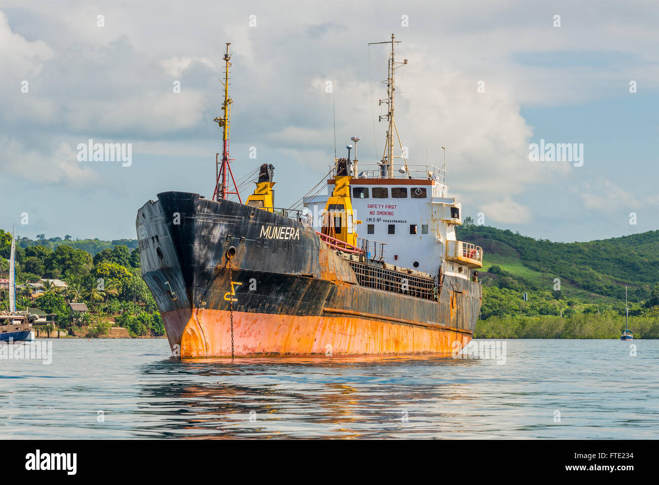 General Cargo Ship Muneera (formerly known as Semlow) anchored at Hell-Ville, Nosy Be - Stock Image