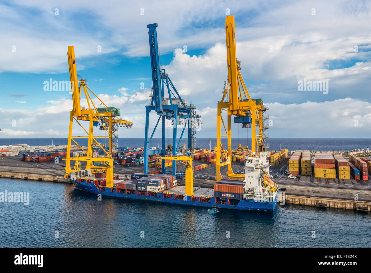General Cargo Ship Kiara at the Harbor of Le Port on Reunion island, France - Stock Image