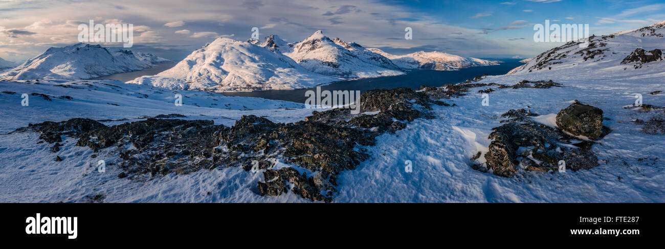 Panoramic view towards Store Blamann and the open ocean from Rodtinden, Kvaloya, Troms, Northern Norway Stock Photo