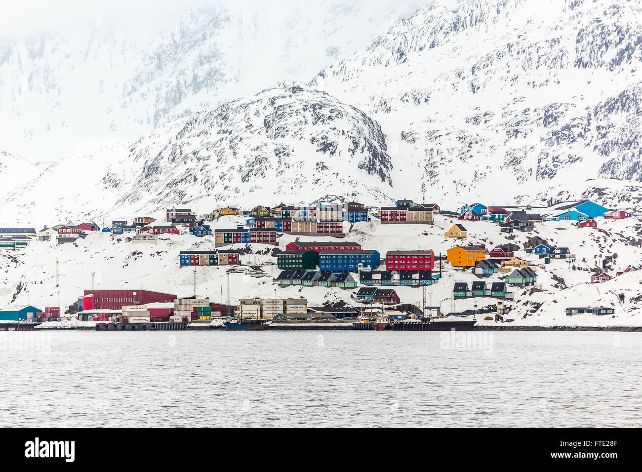 port of Sisimiut the 2nd largest Greenlandic city, Greenland May 2015 Stock Photo