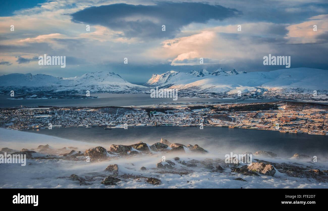 Extreme wind and view towards Tromsoya and Kvaloya from Kroken - Stock Image