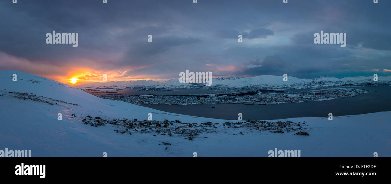 Panorama over Tromsoya from Kroken - Stock Image