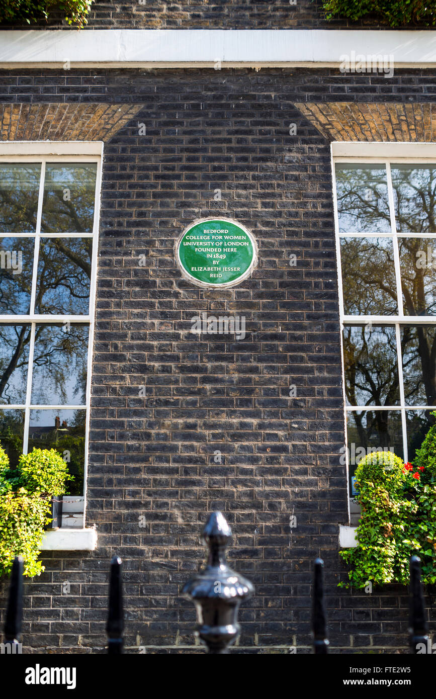 Bedford College for Women and Foundation Plaque, Bloomsbury, London - Stock Image