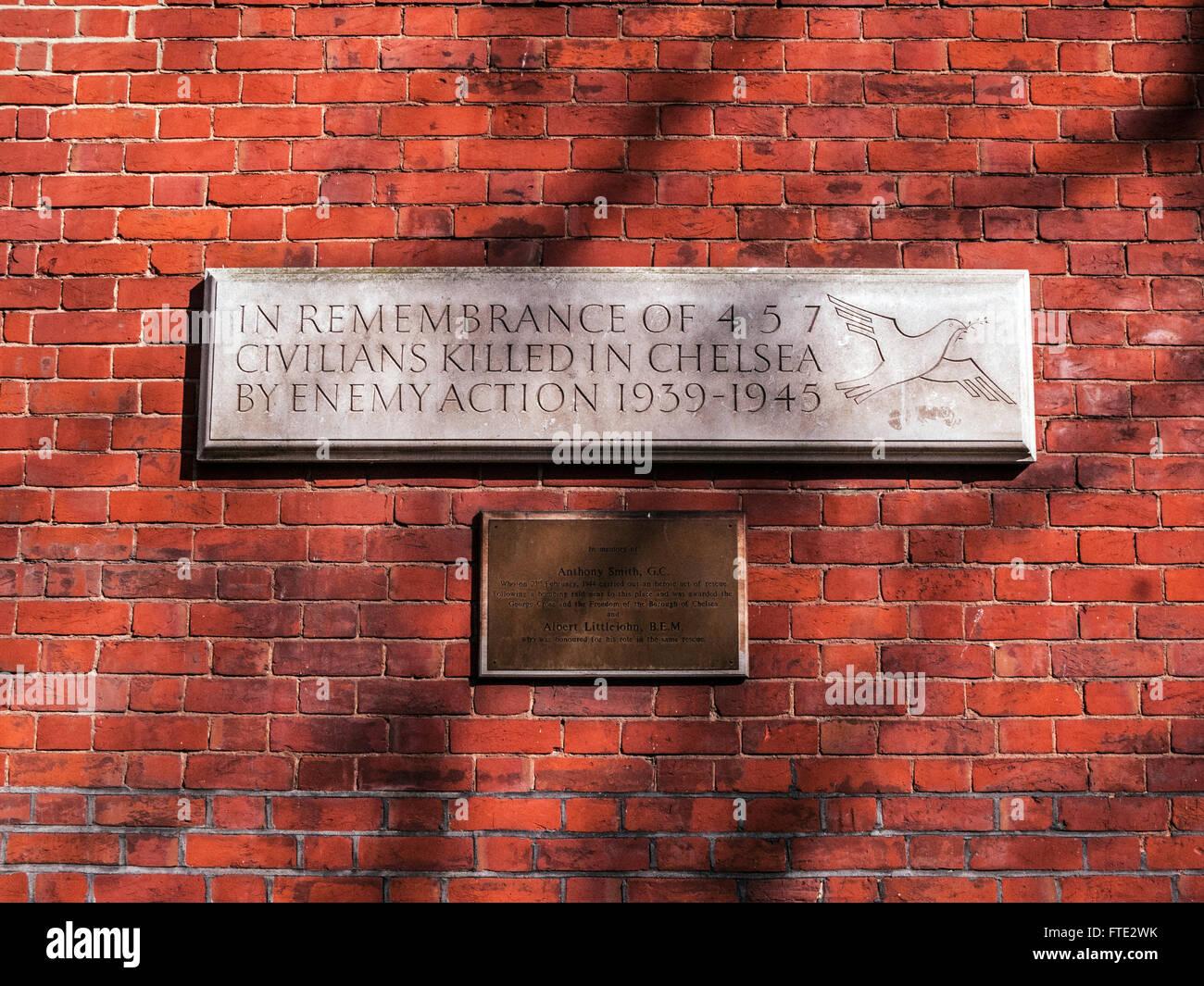 Civilian War Memorial, Chelsea, London - Stock Image