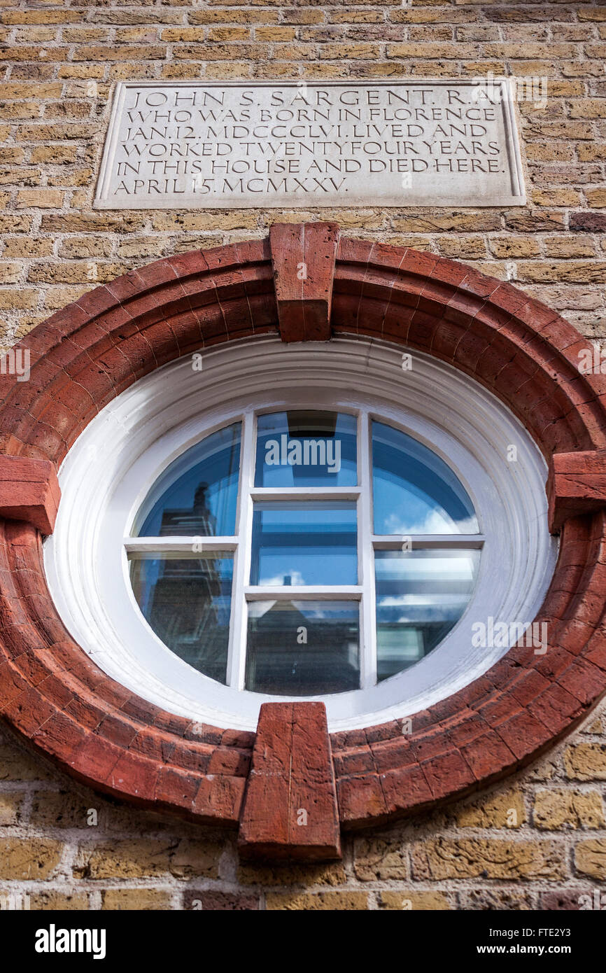 John Singer Sargent wall plaque ,Chelsea, London Stock Photo