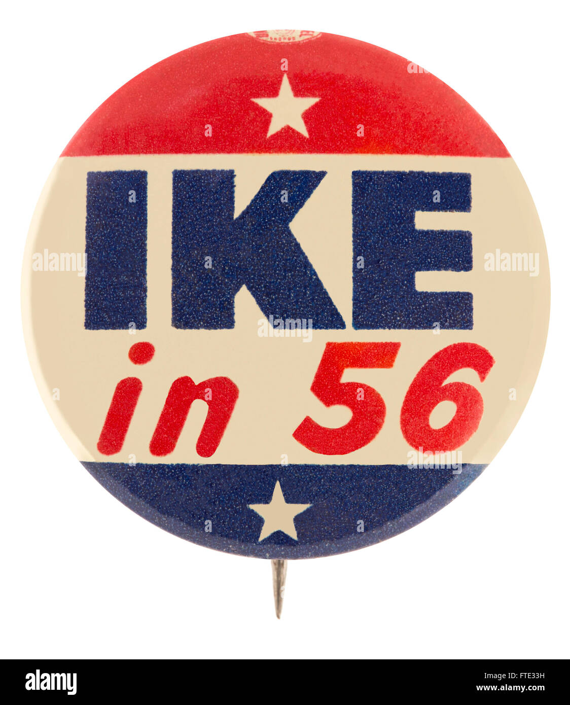 1956 Dwight D. Eisenhower presidential campaign pin back button badge - Stock Image