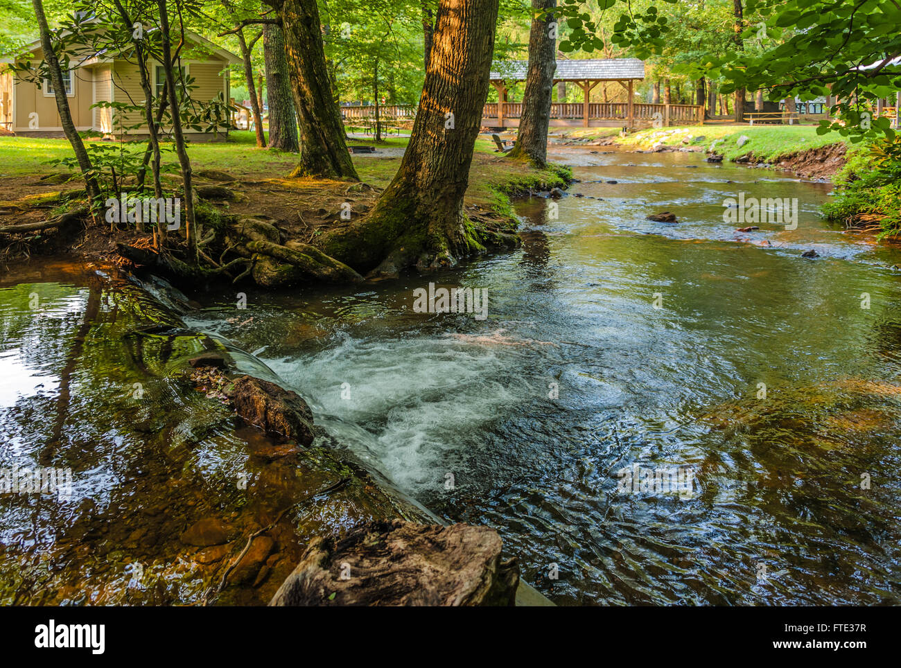 Cabin, footbridge and flowing stream at beautiful Vogel State Park in the North Georgia Mountains. USA. - Stock Image