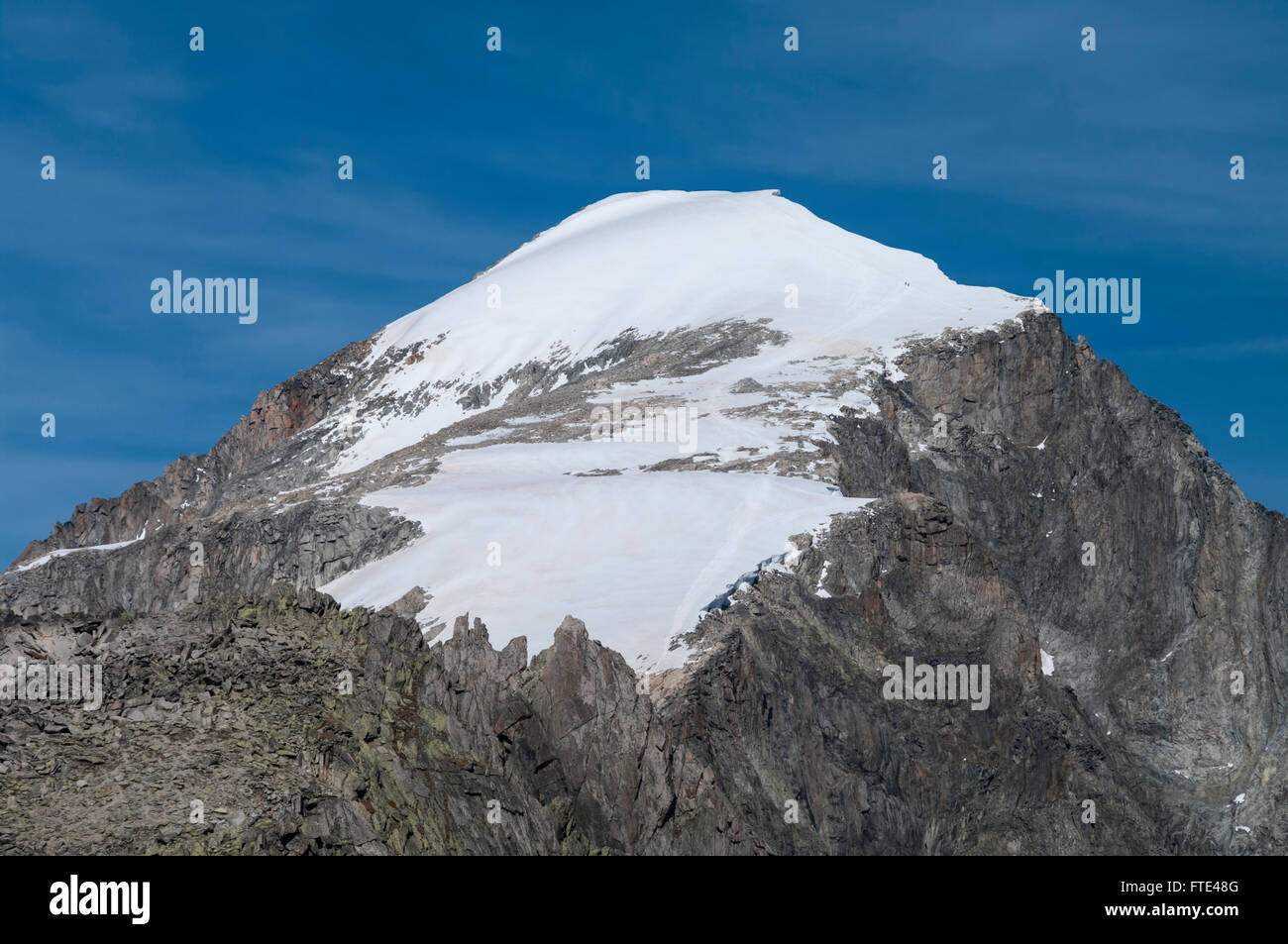 Galenstock (3586 m/11765 ft), a mountain in the Swiss Alps, seen from south. Cantons of Uri and Valais, Switzerland. - Stock Image