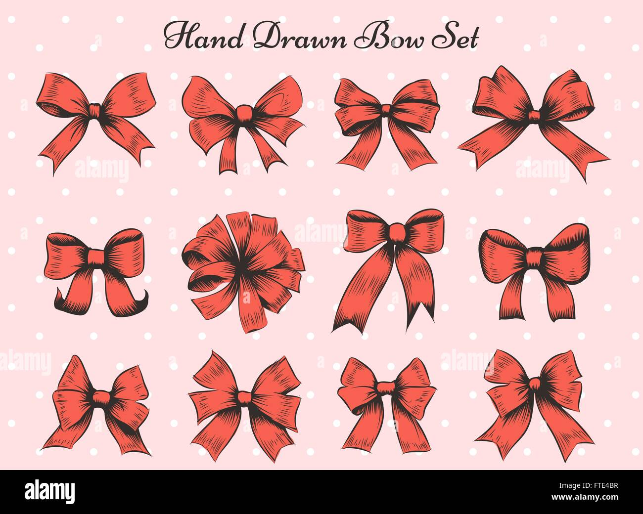 Set of twelve bows. Hand drawn red bows on polka dot background - Stock Vector