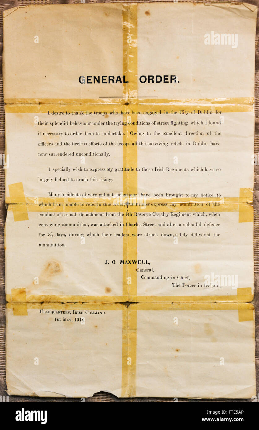 Original General Order Document given to the soldiers at the Kilmainham Detention Barracks after the Easter Rebellion - Stock Image