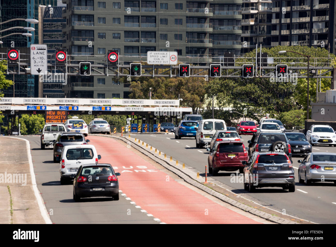 Traffic on the Bradfield Highway tolls, leading into the city centre from Harbour Bridge in Sydney, New South Wales, Stock Photo