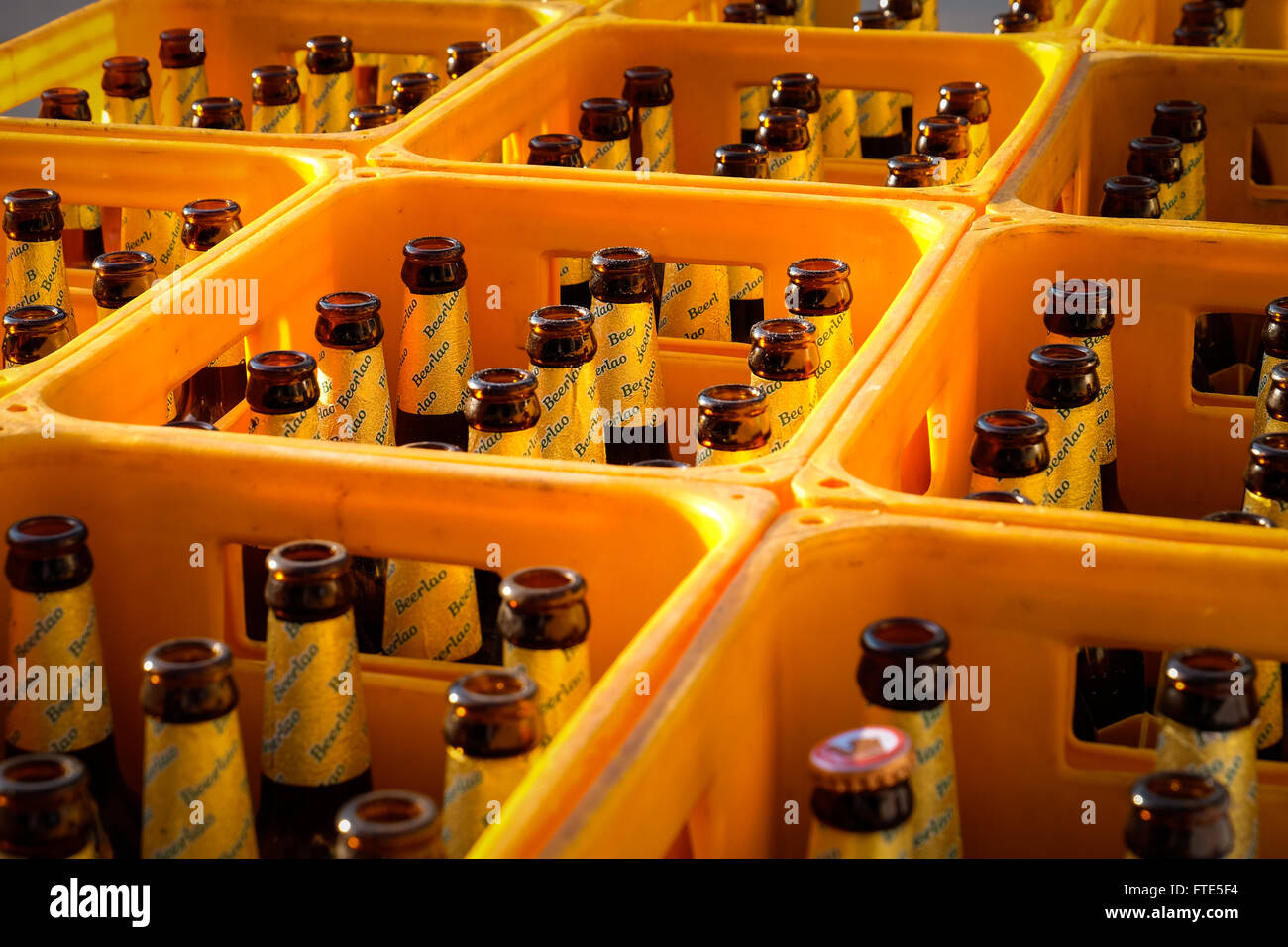 Crates of empty Beerlao bottles on the back of a truck in Luang Prabang, Lao PDR. - Stock Image