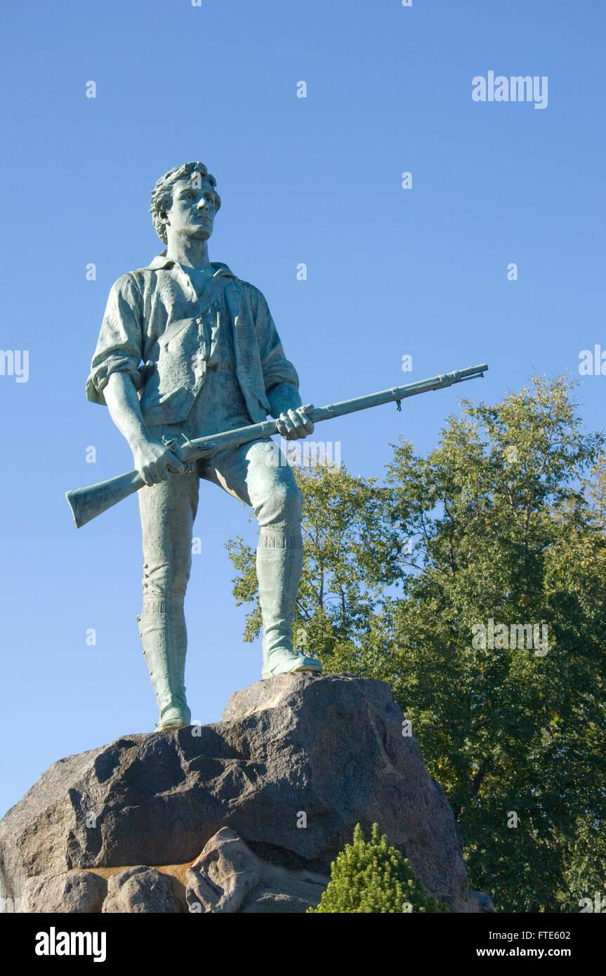 Statue of Captain John Parker at the Hayes Memorial Fountain on Lexington Common, Massachusetts by Henry Hudson Kitson Stock Photo