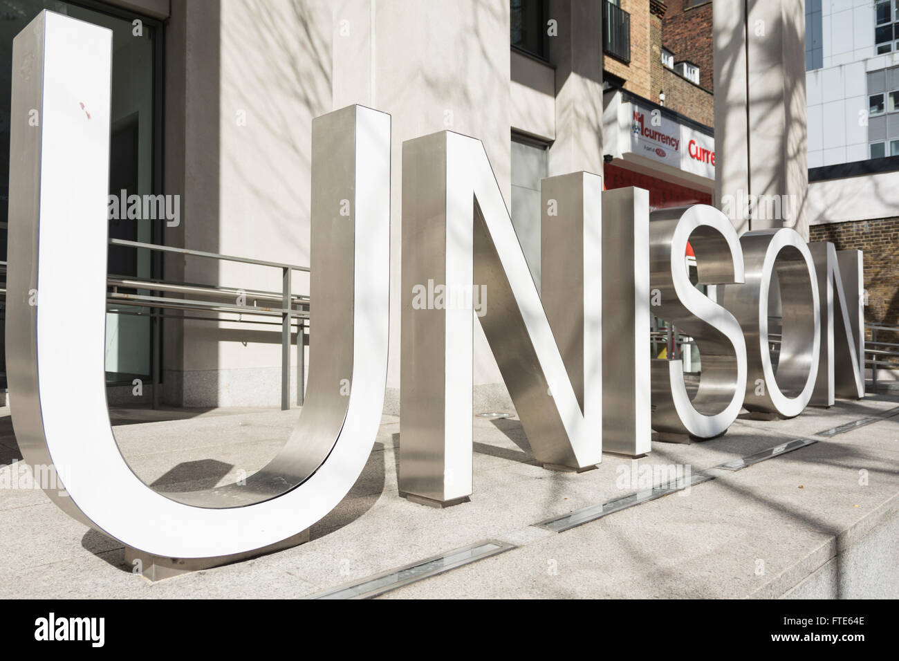 UNISON sign outside headquarters building on London's Euston Road. - Stock Image