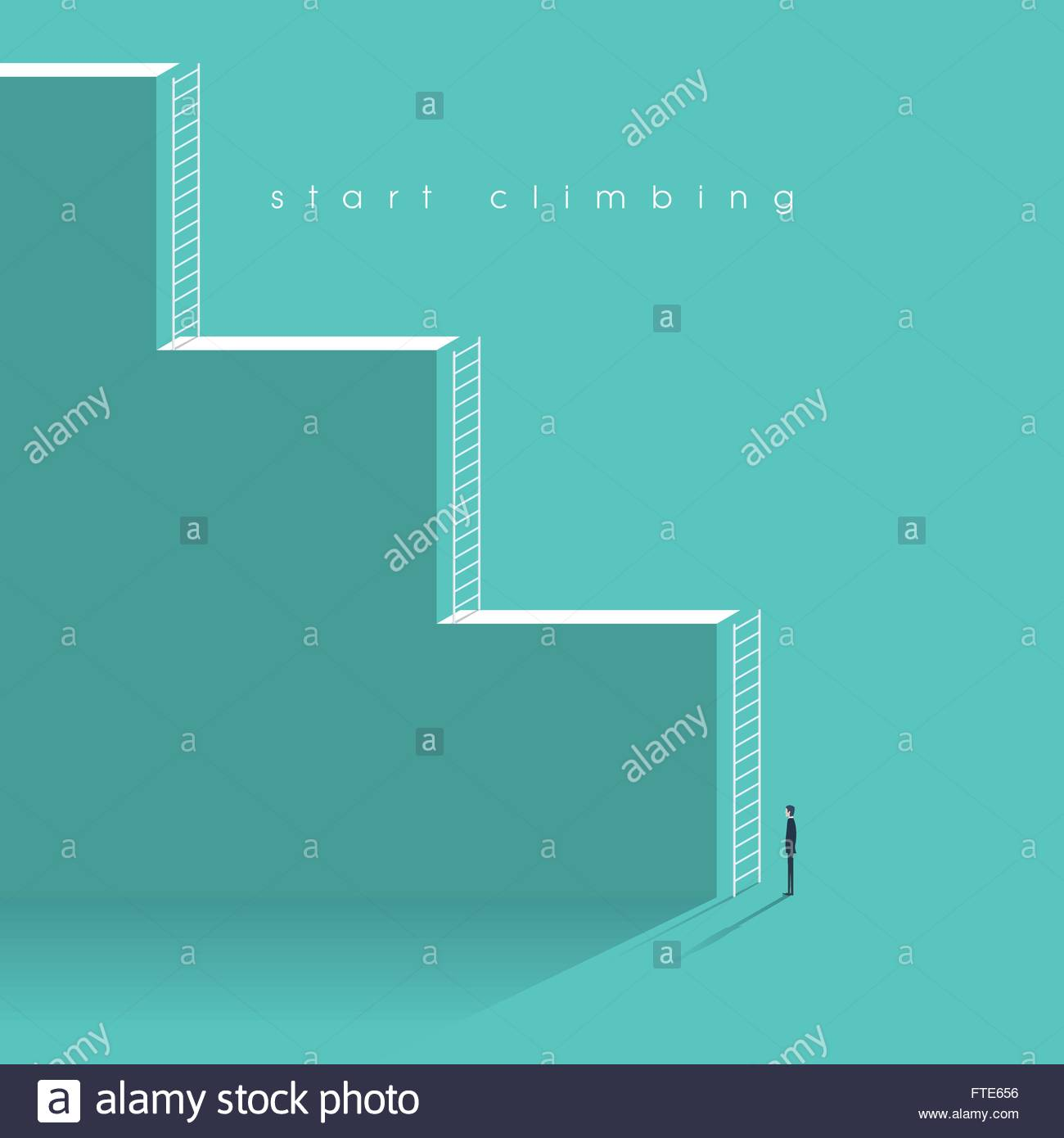 Career corporate ladder concept vector illustration. Businessman starting professional work with challenges. - Stock Vector