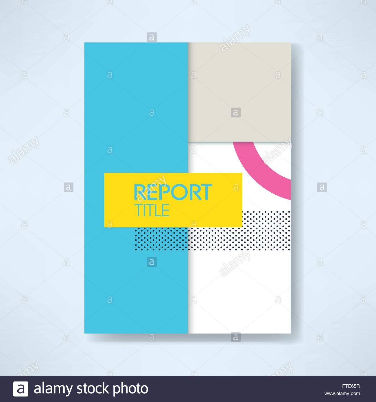 report cover template in modern material design style with geometric