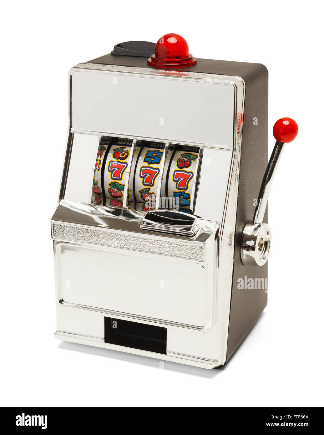 Small Slot Machine with Sevens Jackpot Isolated on White Background. - Stock Image