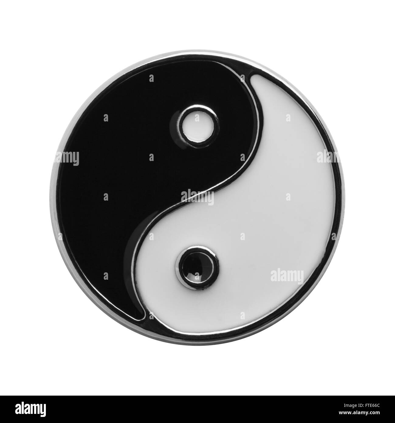 Black and White Yin Yang Symbol Isolated on White Background. - Stock Image