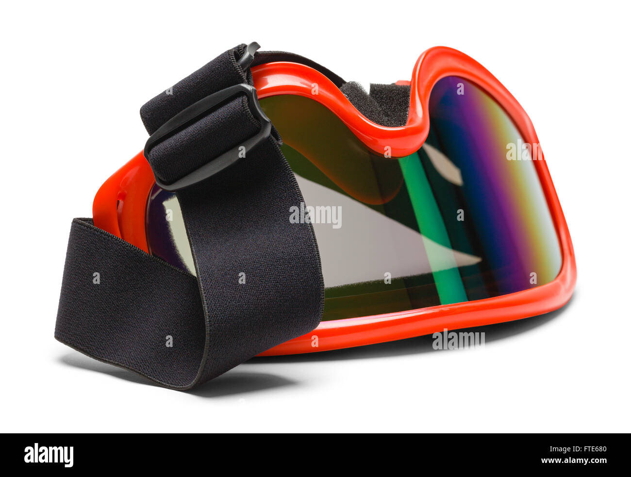 Red Goggles Upside Down with Draped Strap Isolated on White Background. - Stock Image