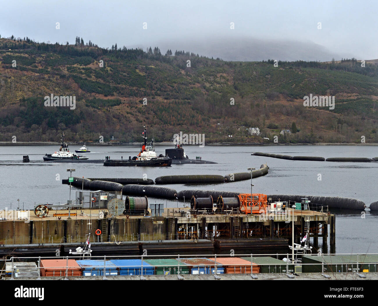 160322-N-ZZ999-010 FASLANE, United Kingdom (March 22, 2016) The Virginia-class attack submarine USS Virginia (SSN - Stock Image