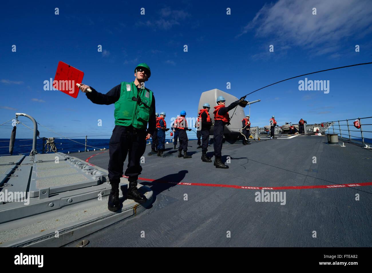 140223-N-PJ969-036 ATLANTIC OCEAN (Feb. 23, 2014) Religious Programs Specialist 2nd Class Ryne Becker from Rockford, - Stock Image