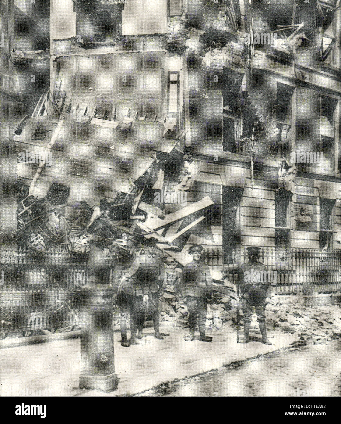 Liberty Hall shelled during Easter uprising 1916 - Stock Image
