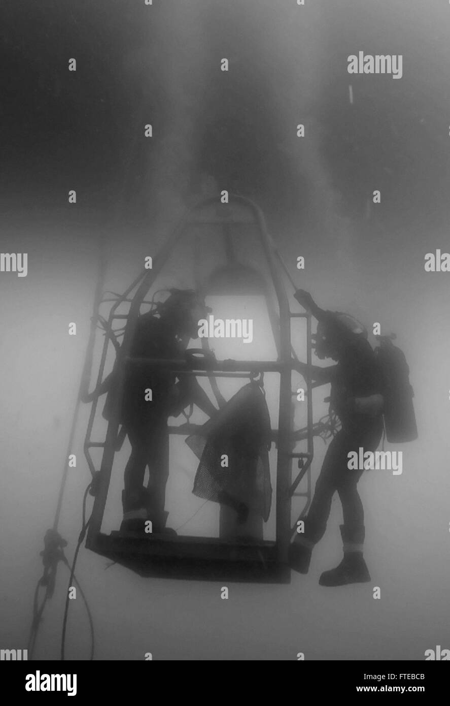 150917-N-ZZ999-001 ADRIATIC SEA (Sept. 17, 2015) Navy Diver 1st Class Sean Dargie and Navy Diver 2nd Class Seth - Stock Image