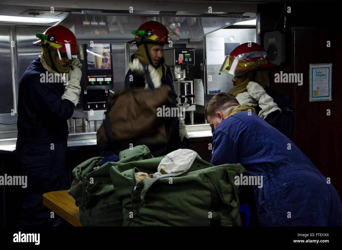 """140805-N-KT328-006 """"MEDITERRANEAN (August 05, 2014) – Sailors aboard the guided-missile frigate USS Samuel - Stock Image"""