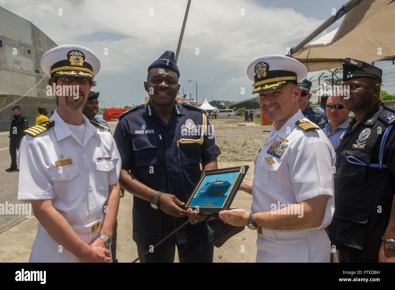 140411-N-ZY039-146 SEKONDI, Ghana (April 11, 2014) - U.S. Navy Capt. Marc Lederer, mission commander aboard joint, - Stock Image