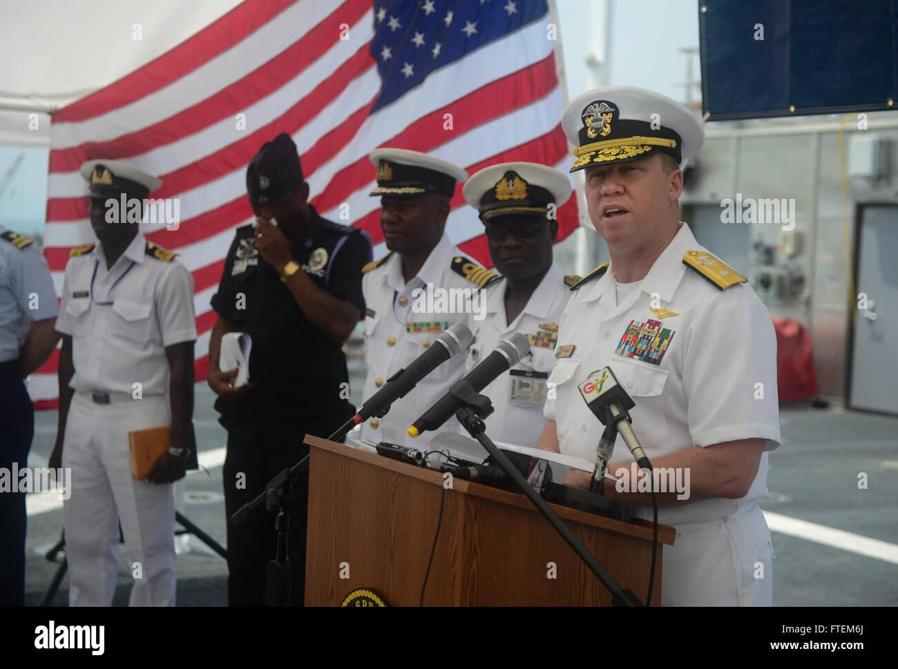 SEKONDI, Ghana (Feb. 24, 2015) U.S. 6th Fleet Vice Commander, Rear Adm. Tom Reck, offers remarks at the closing Stock Photo