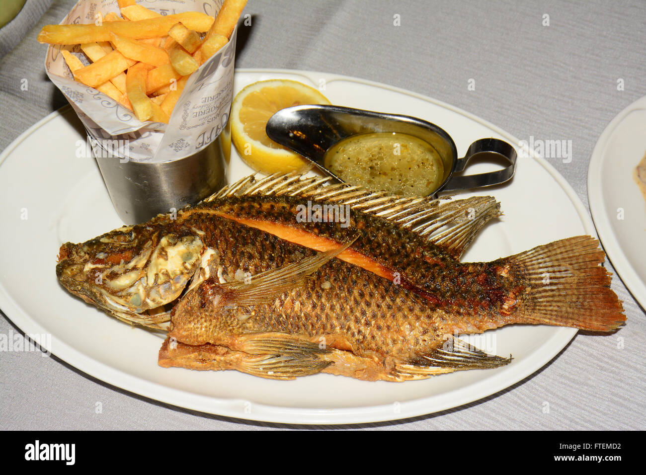 Fish Gravy and French fries - Stock Image