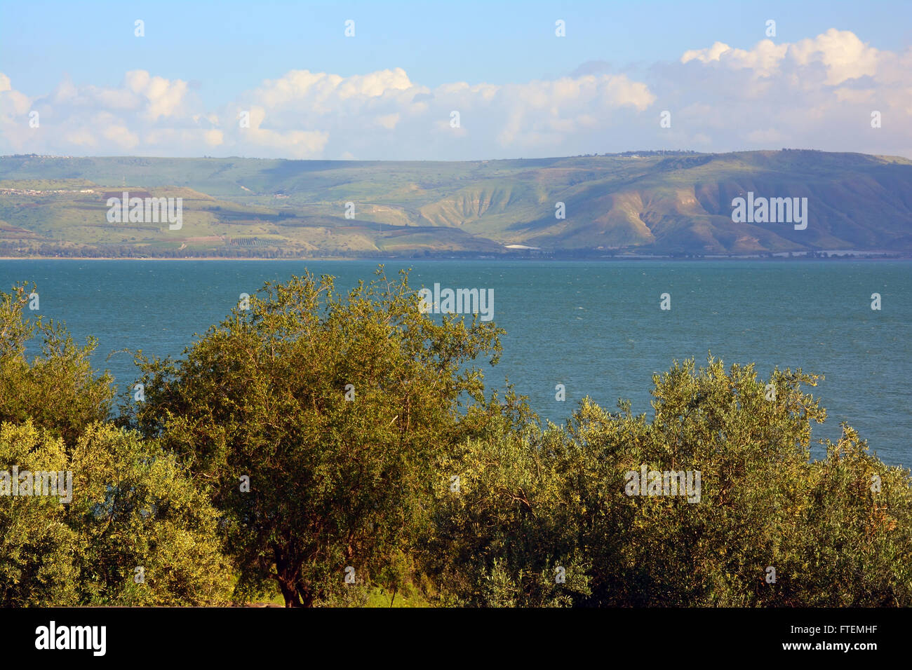 Sea of Galilee and Golan heights - Stock Image