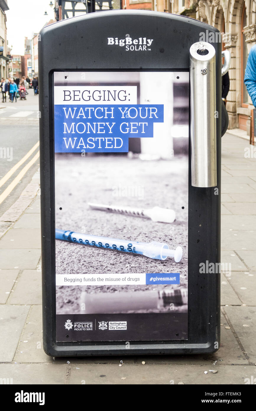 Controversial anti begging adverts by Nottingham City Council (Labour) in conjunction with Nottinghamshire Police. - Stock Image