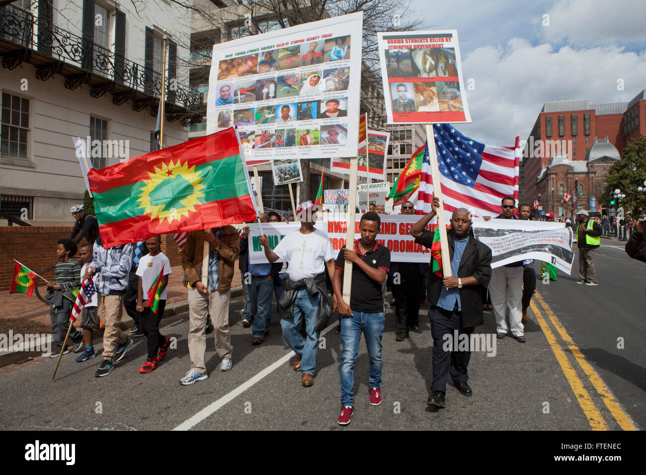Friday, March 11, 2016, Washington, DC USA: Protest against the Ethiopian government genocidal war in Oromia, Ethiopia - Stock Image