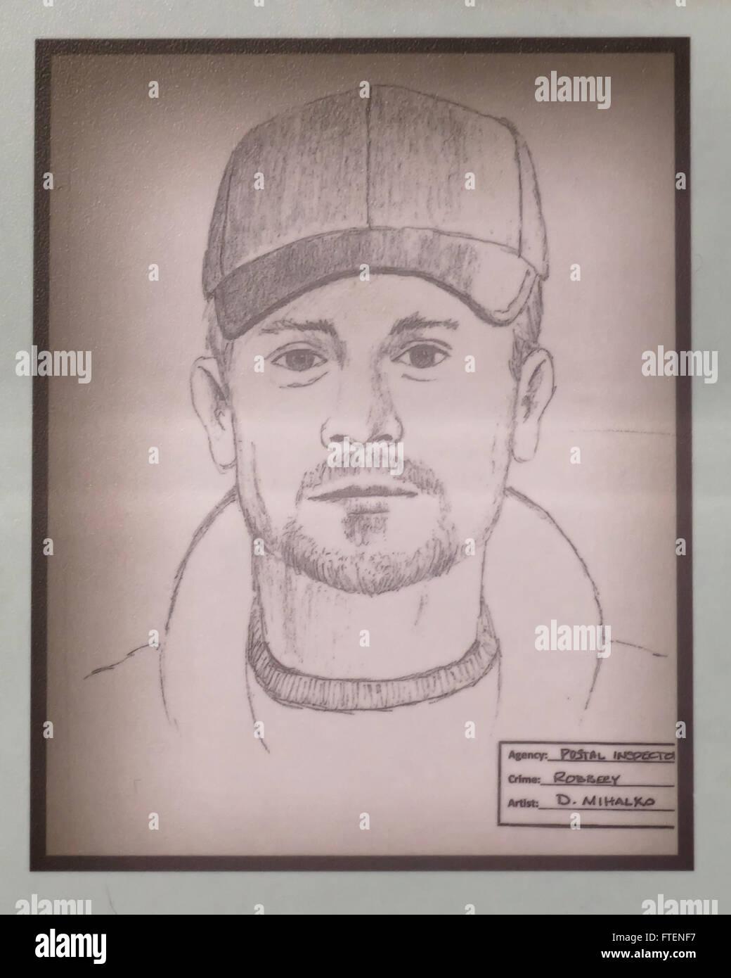 Facial composite sketch of suspect - USA - Stock Image